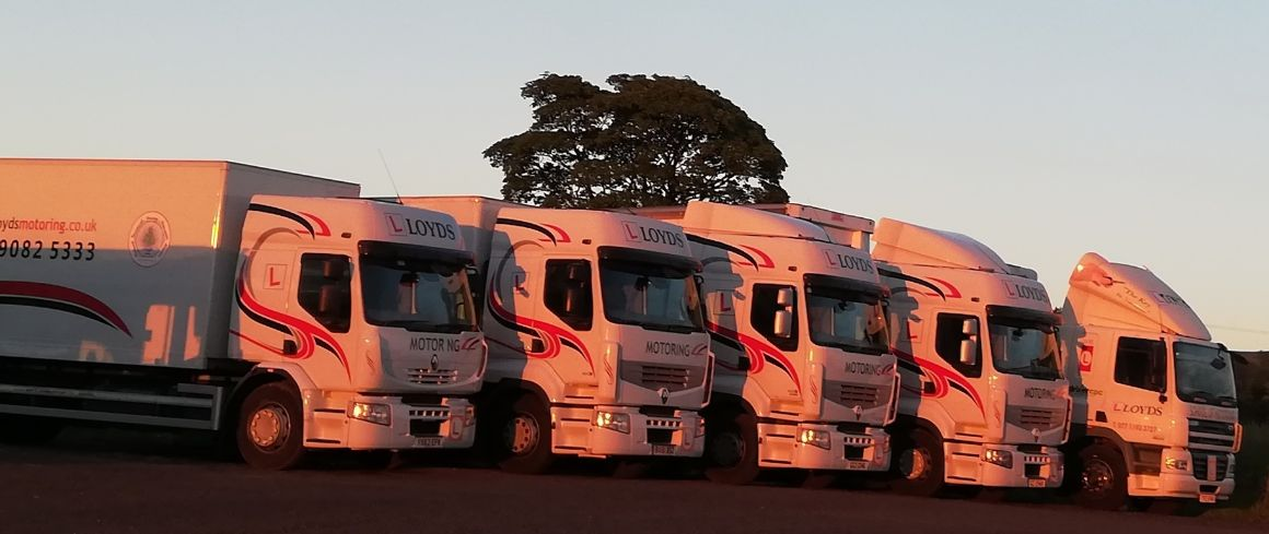 The Fleet of lorries at Lloyds Motoring, learn to drive, automatic lorries, category C rigid, category C1 7 1/2 tonne, Category C+E artic, learn to drive northern Ireland